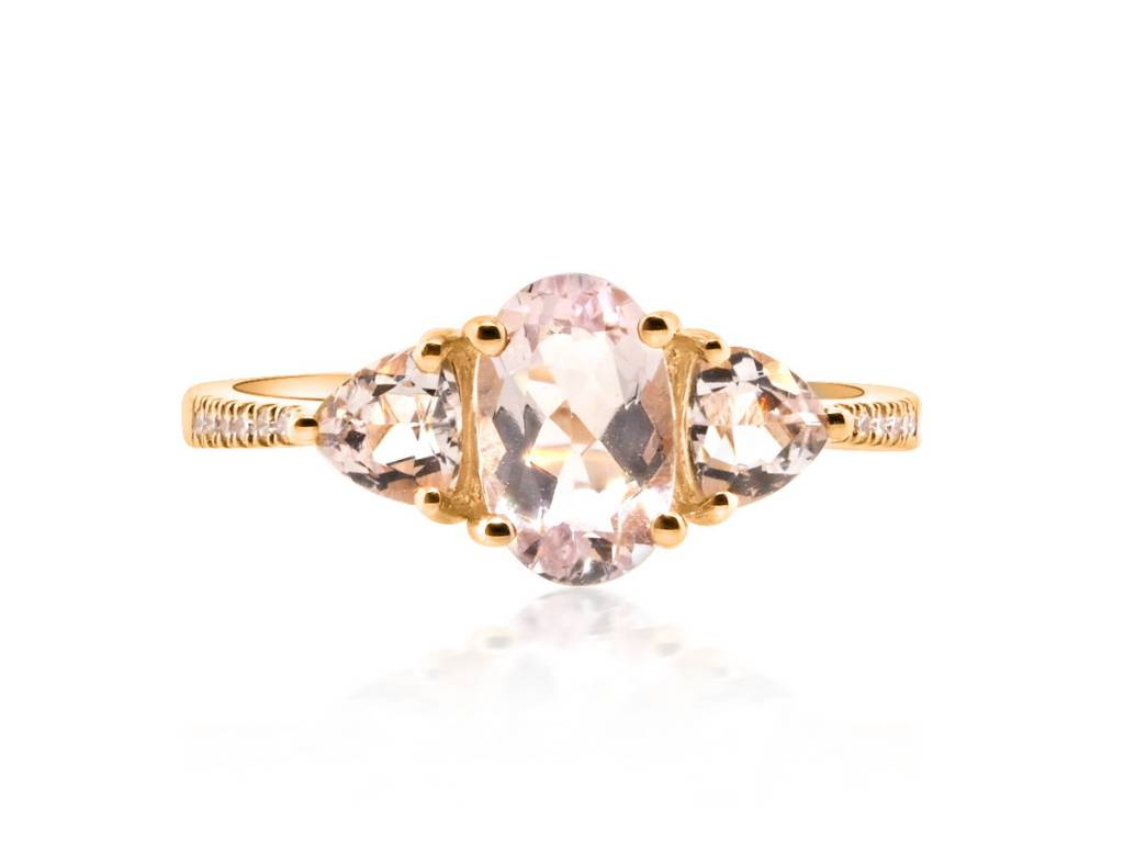 Liven Three Stone Morganite and Pave Ring