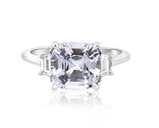 Trabert Goldsmiths 3.12ct Cushion Pale Blue Sapphire Ring E1731