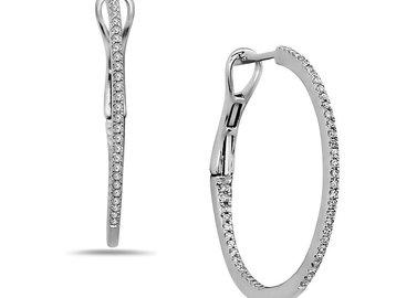 Dilamani Medium Diamond White Gold Hoop Earrings DL16