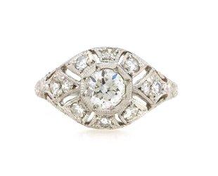 Trabert Goldsmiths 0.80ct Antique Deco Diamond Dome Ring E1754