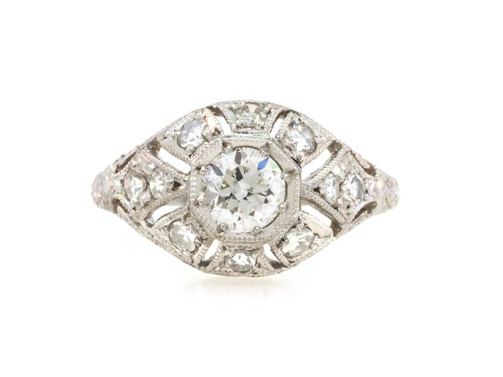 Trabert Goldsmiths 0.80ct Antique Deco Diamond Dome Ring E1754
