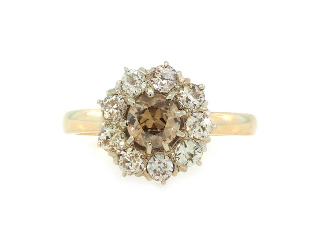 8fc84f01b8ed0 Antique Champagne Diamond Cluster Ring E1755