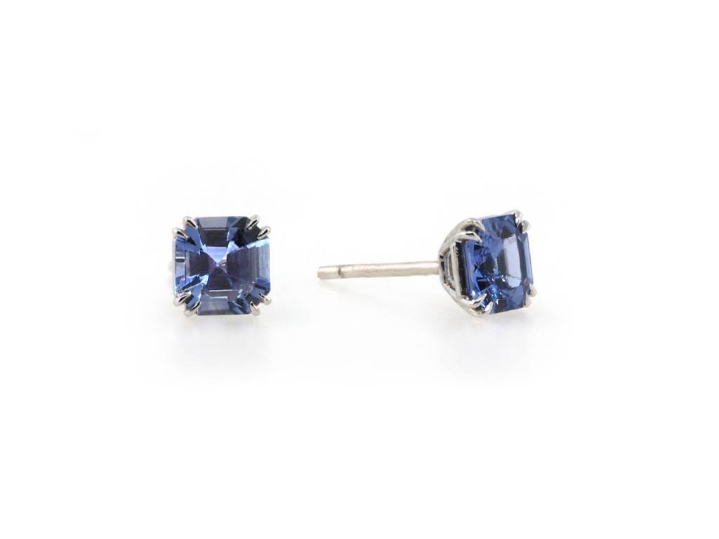 2.14ct Asscher Cut Sapphire Stud Earrings