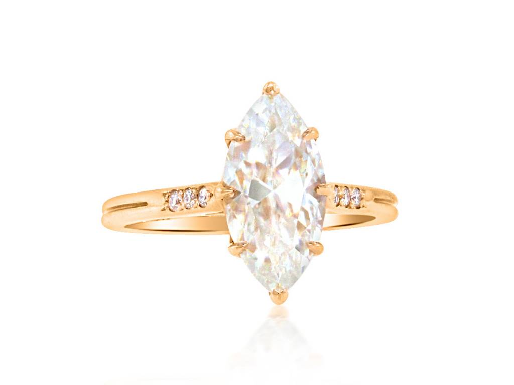 Trabert Goldsmiths 2.38ct Marquise Moissanite Elektra Ring