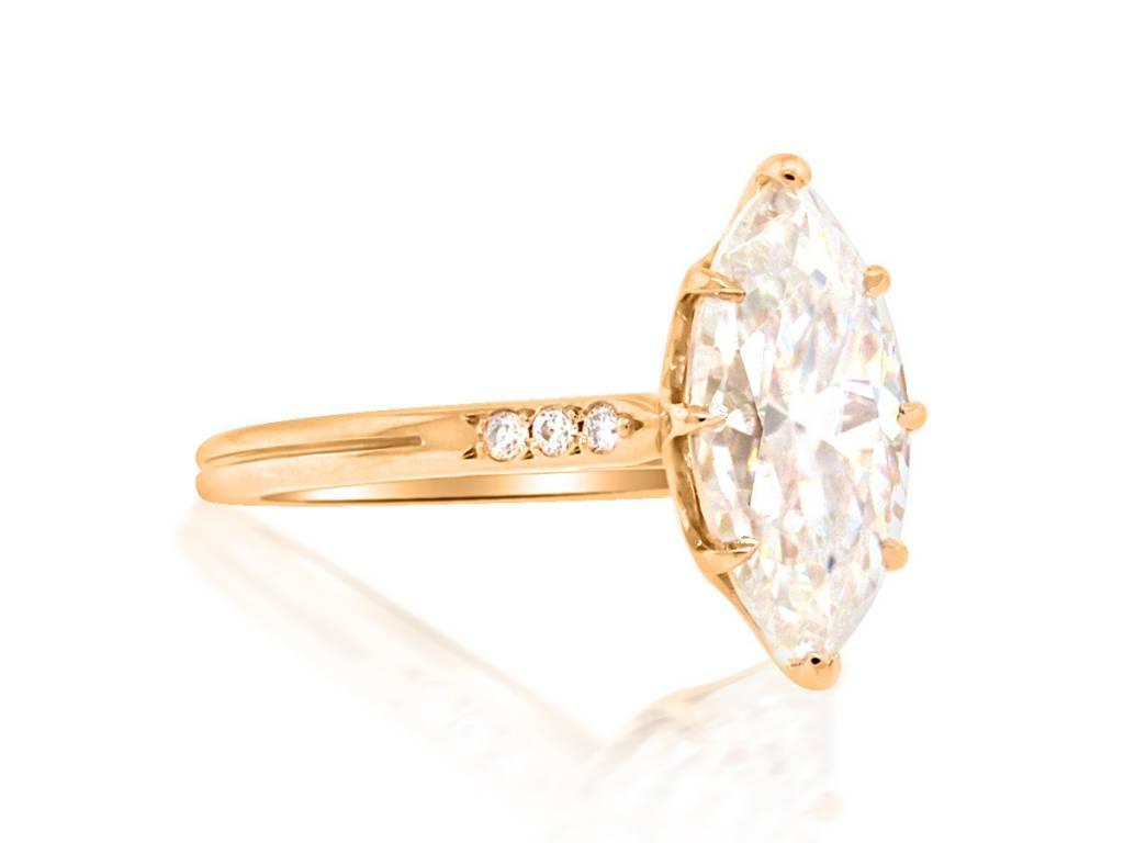 Trabert Goldsmiths 2.38ct Marquise Moissanite Elektra Ring