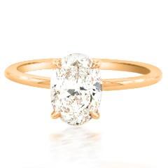 Trabert Goldsmiths 1.54ct ESI1 Oval Diamond Aura Ring E1756