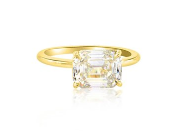 Trabert Goldsmiths 2.35ct Emerald Cut Moissanite Aura Ring E1759