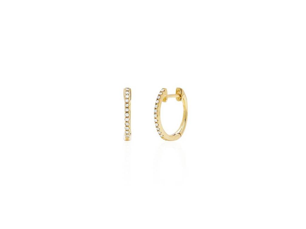 Dilamani Small Pave Diamond Gold Hoop Earrings