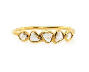 Trabert Goldsmiths 5 Stone Rose Cut Diamond Ring E1770