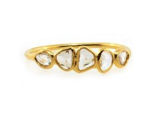 Trabert Goldsmiths 5 Stone Rose Cut Diamond Ring E1769