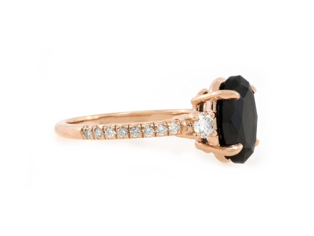 Trabert Goldsmiths 3.24ct Dark Star Black Diamond Ring