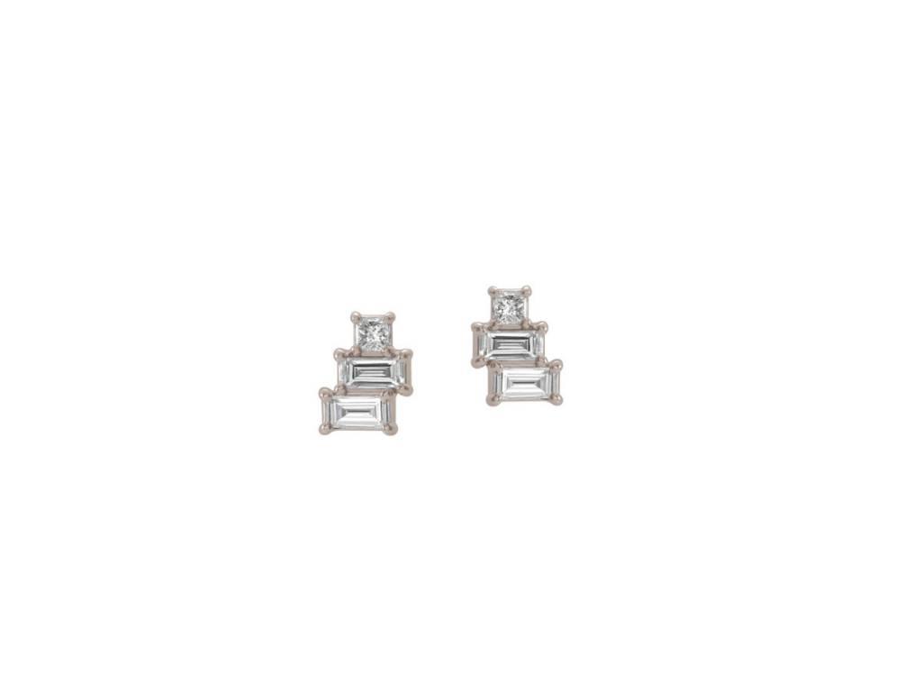 Trabert Goldsmiths Mini Baguette Dia White Gold Stud Earrings