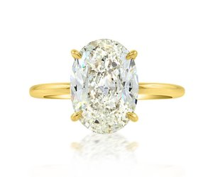 Trabert Goldsmiths 3.21ct IVS2 Oval Diamond Aura Ring E1768