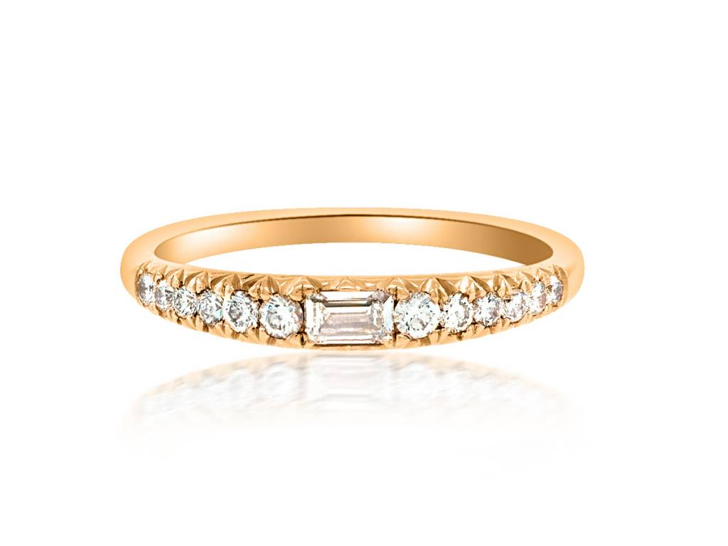 Trabert Goldsmiths Graduated Pave and Baguette Diamond Band