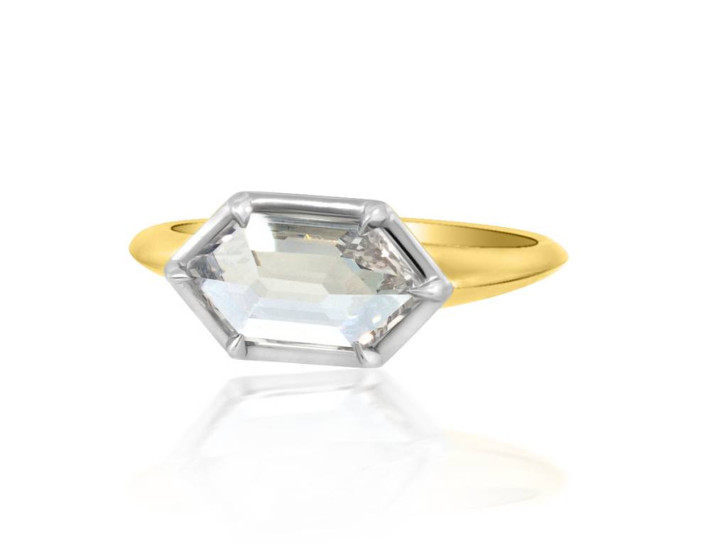 Trabert Goldsmiths 1.10ct Hexagonal Diamond Stella Ring