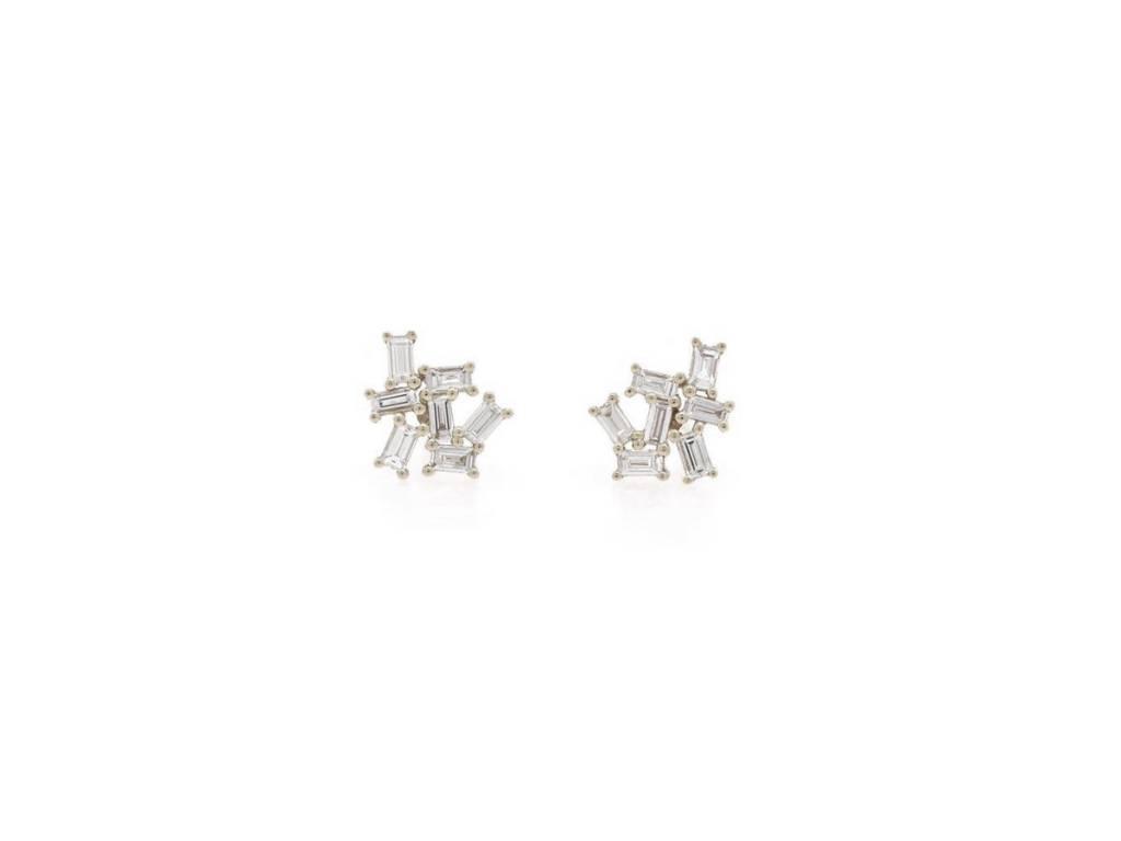 Trabert Goldsmiths Baguette Diamond Cluster Stud Earrings