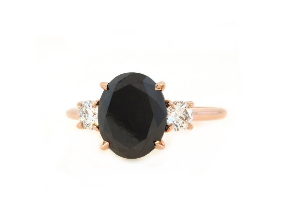 Trabert Goldsmiths 3.12ct Oval Black Diamond Dark Star Ring
