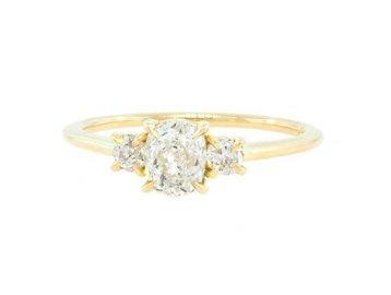 e33b7dba8b37a1 0.69ct Antique Diamond Baby Trinity Ring E1797