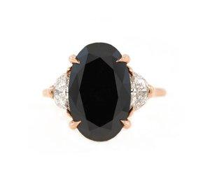 Trabert Goldsmiths 5.49ct Black Diamond Dark Moon Ring E1806