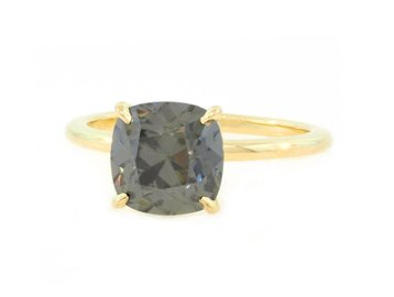 Trabert Goldsmiths 2.33ct Cushion Grey Moissanite Aura Ring E1808