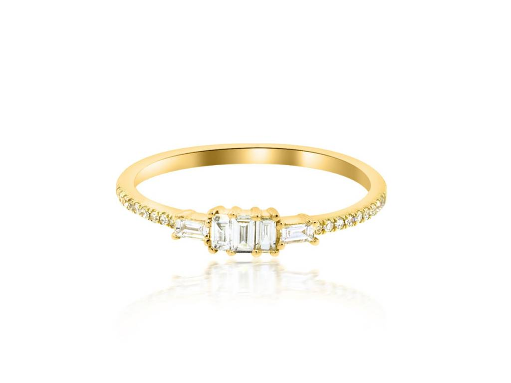 Trabert Goldsmiths Baguette and Diamond Pave Ring