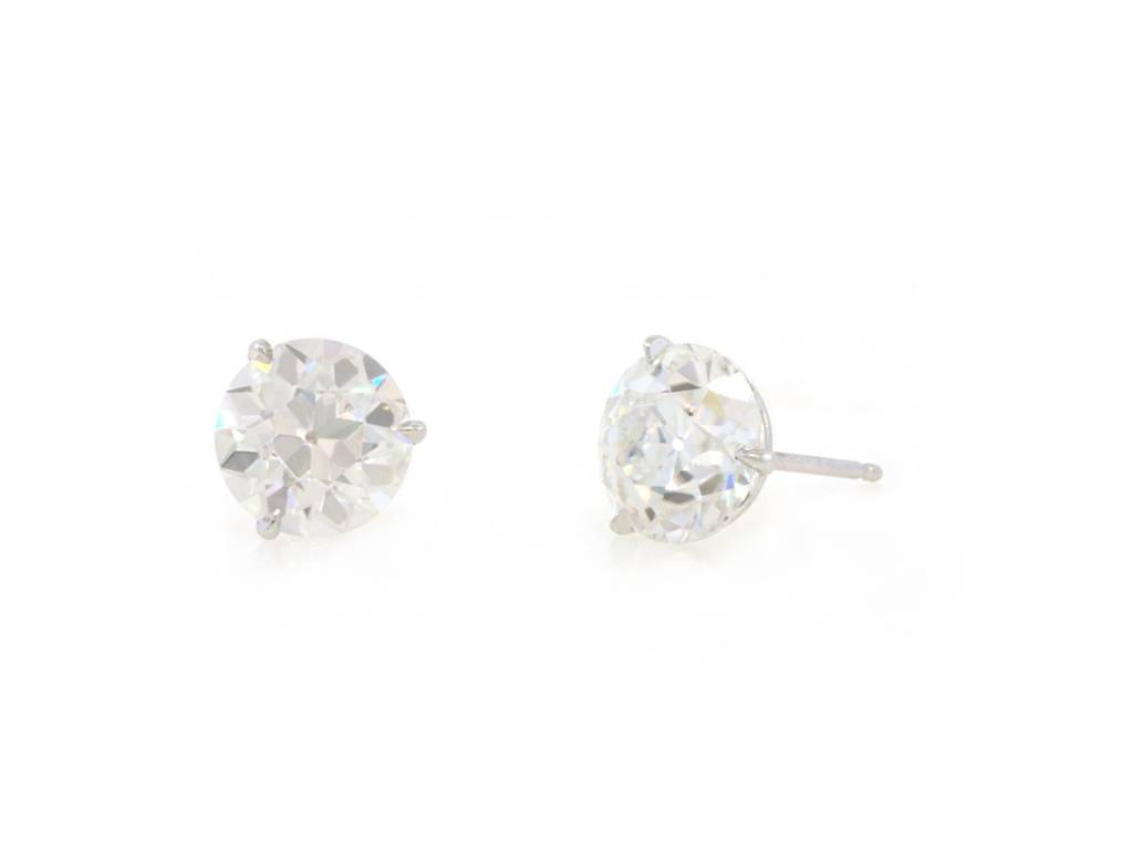 Trabert Goldsmiths 4ct Old European Cut Moissanite Stud Earrings
