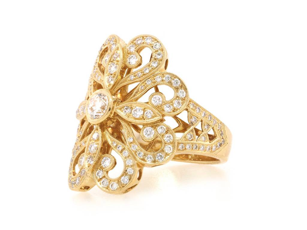 Beverley K Collection Gold Filagree Diamond Statement Ring AB474