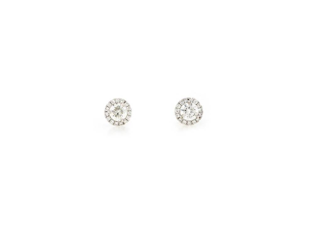 Trabert Goldsmiths Diamond Halo Stud Earrings