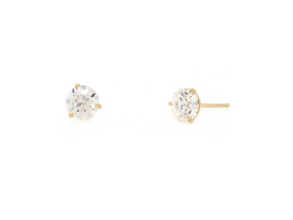 Trabert Goldsmiths 1 56ct Old Euro Cut Moissanite Stud Earrings