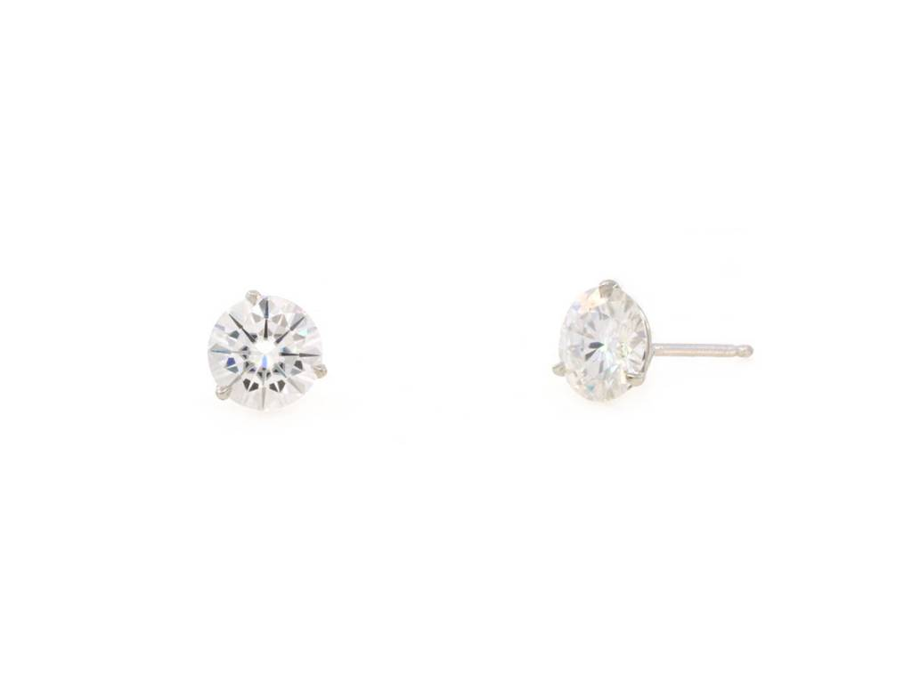 Trabert Goldsmiths 2ct Round Moissanite Stud Earrings