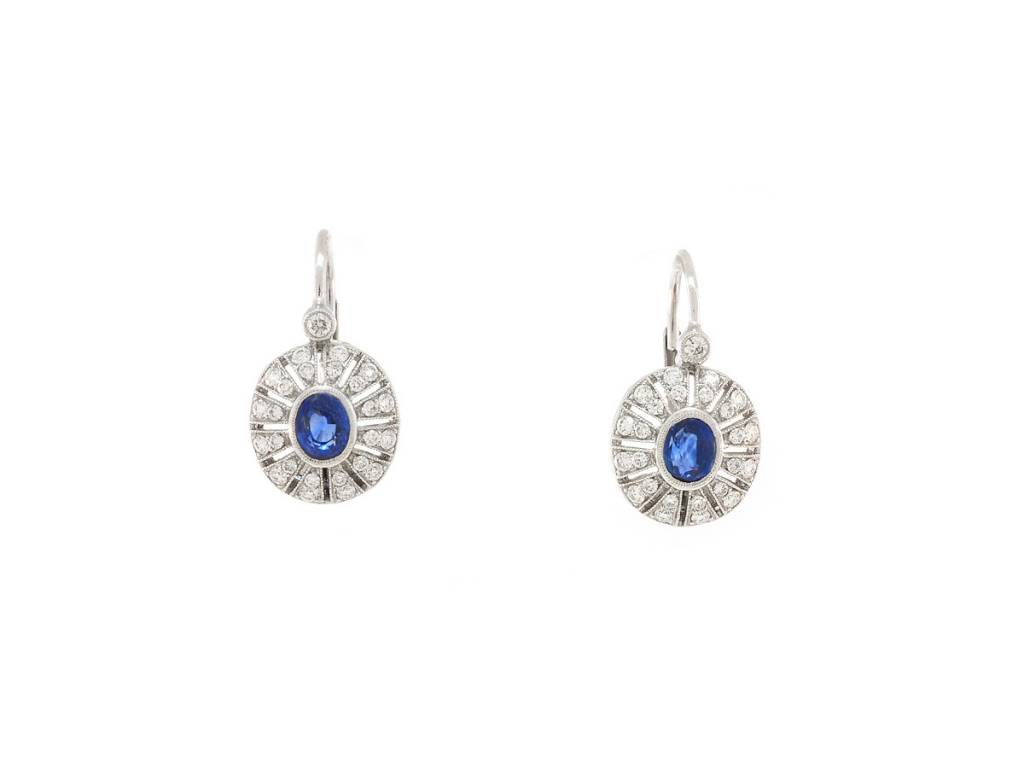 Beverley K Collection Blue Sapphire and Diamond Drop Earrings