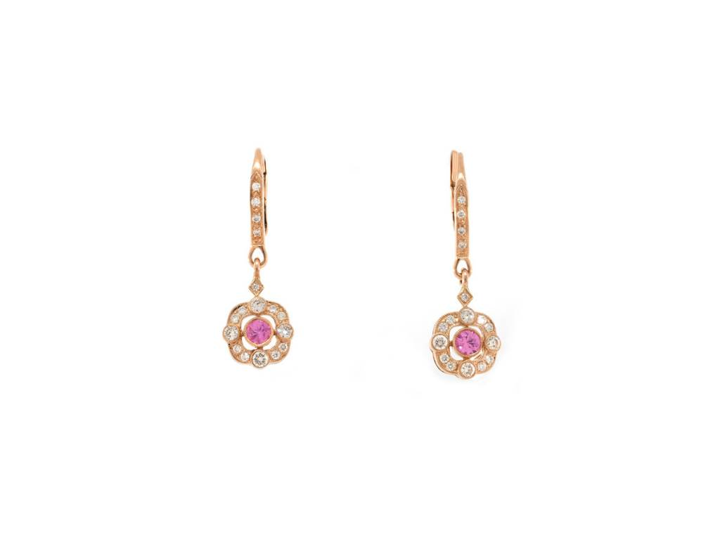 Beverley K Collection Pink Sapphire and Diamond Drop Earrings