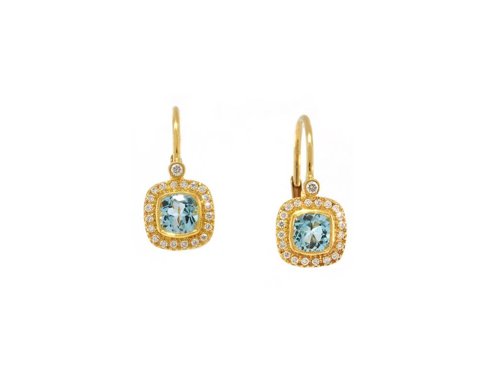 Beverley K Collection Blue Topaz and Diamond Drop Earrings