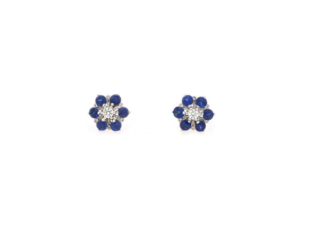 Beverley K Collection Sapphire and Diamond Flower Earrings