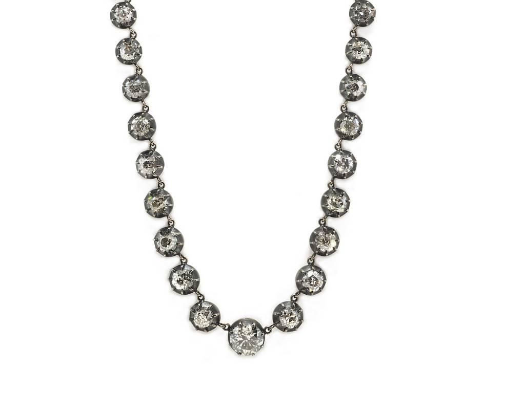 Trabert Goldsmiths 14.60ct Diamond Georgian Rivière Necklace