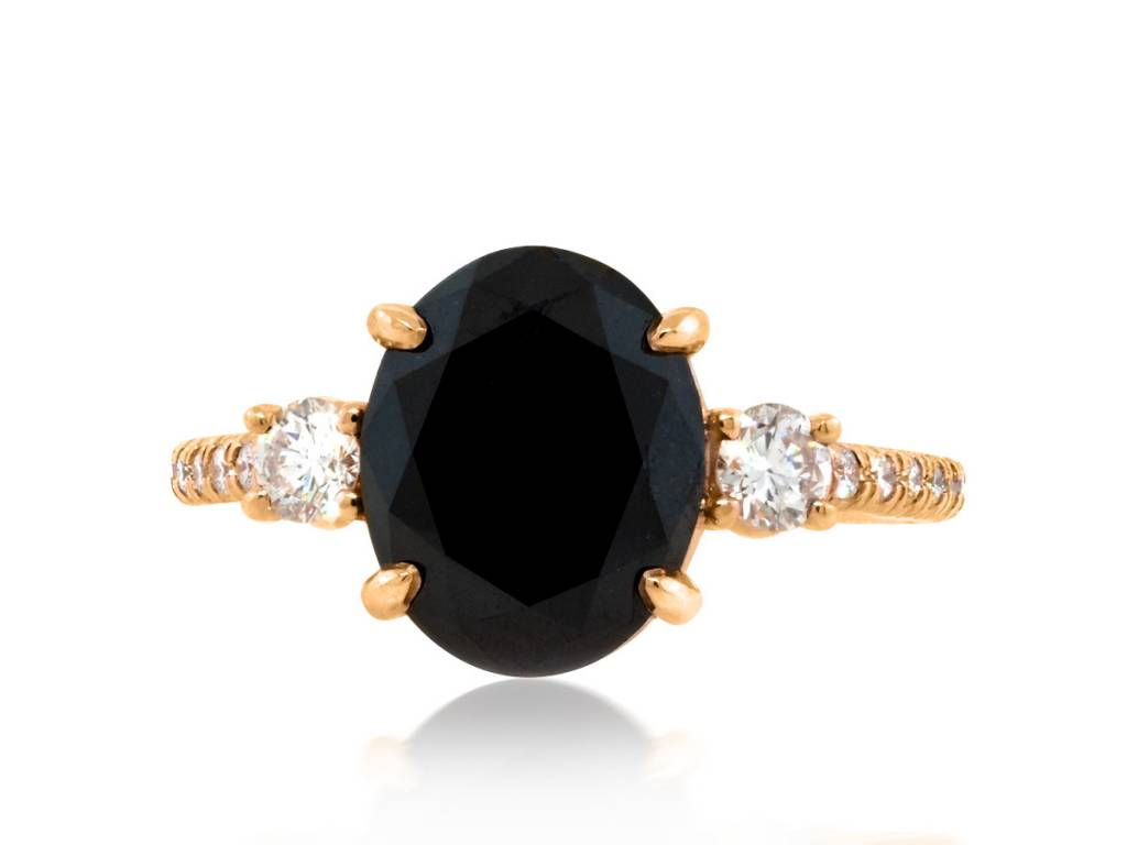 Trabert Goldsmiths 3.30ct Black Diamond Dark Star Ring