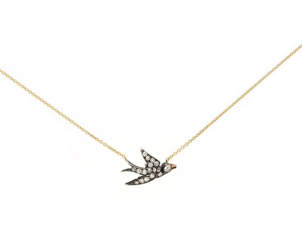 Trabert Goldsmiths Antique Sparrow  Diamond Pendant