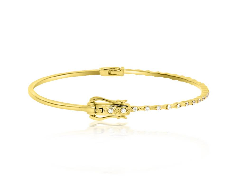 Beverley K Collection Scattered Diamond Gold Hinged Bangle
