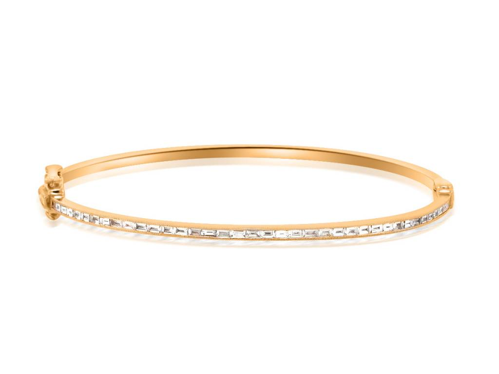 Beverley K Collection Baguette Diamond Rose Gold Bangle