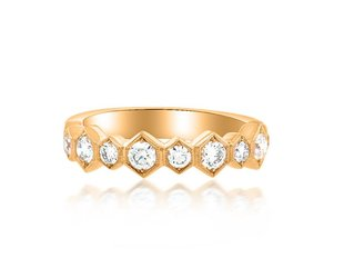 Beverley K Collection Large Hexagonal Diamond Half Band AB478