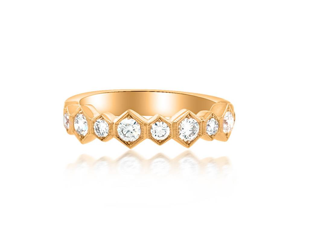Beverley K Collection Large Hexagonal Diamond Half Band