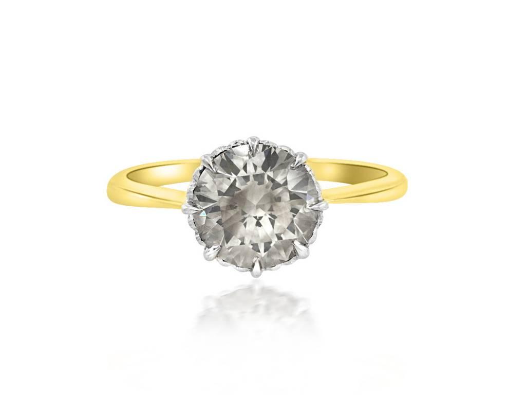 Trabert Goldsmiths 1.72cts Fancy Grey Diamond Ring