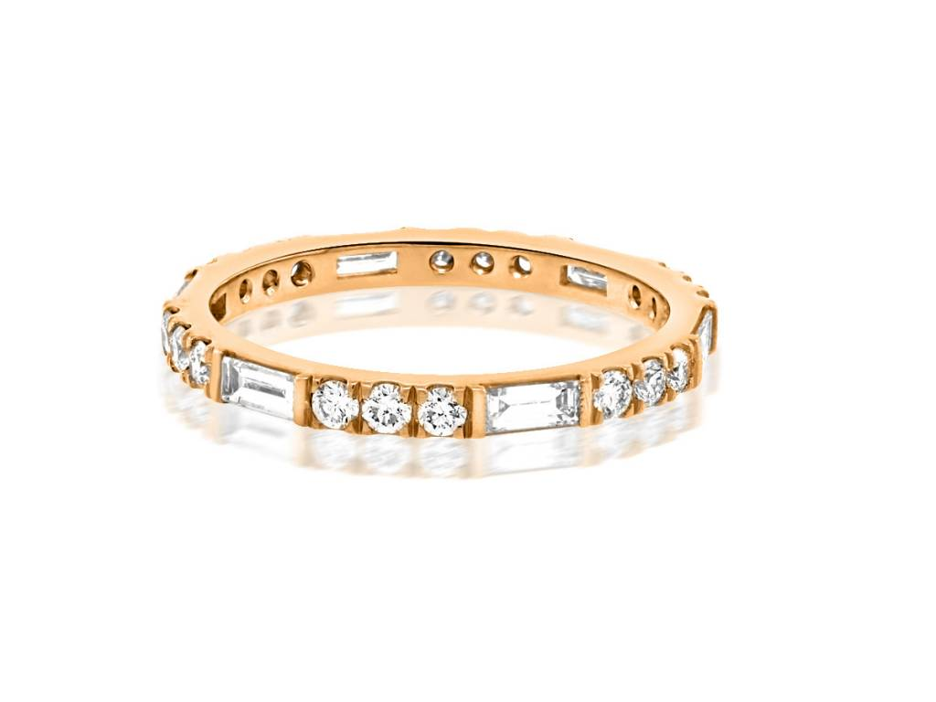 Trabert Goldsmiths Horizon Line Diamond Rose Gold Band