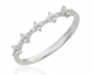 Spaced Floral Dia White Gold Half Band LN71