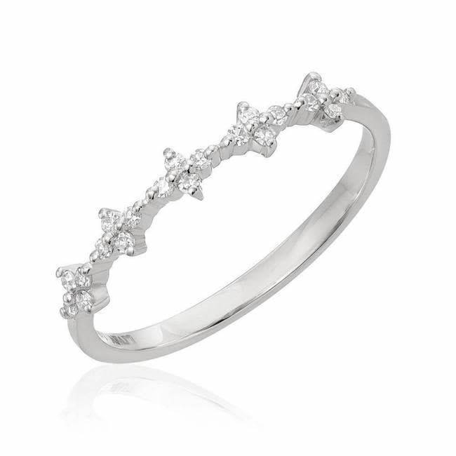 Spaced Floral Diamond White Gold Half Band