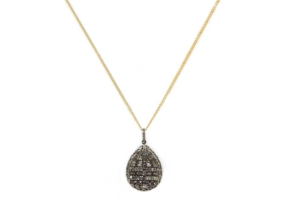 Trabert Goldsmiths Sterling Silver Diamond Baguette Teardrop Pendant