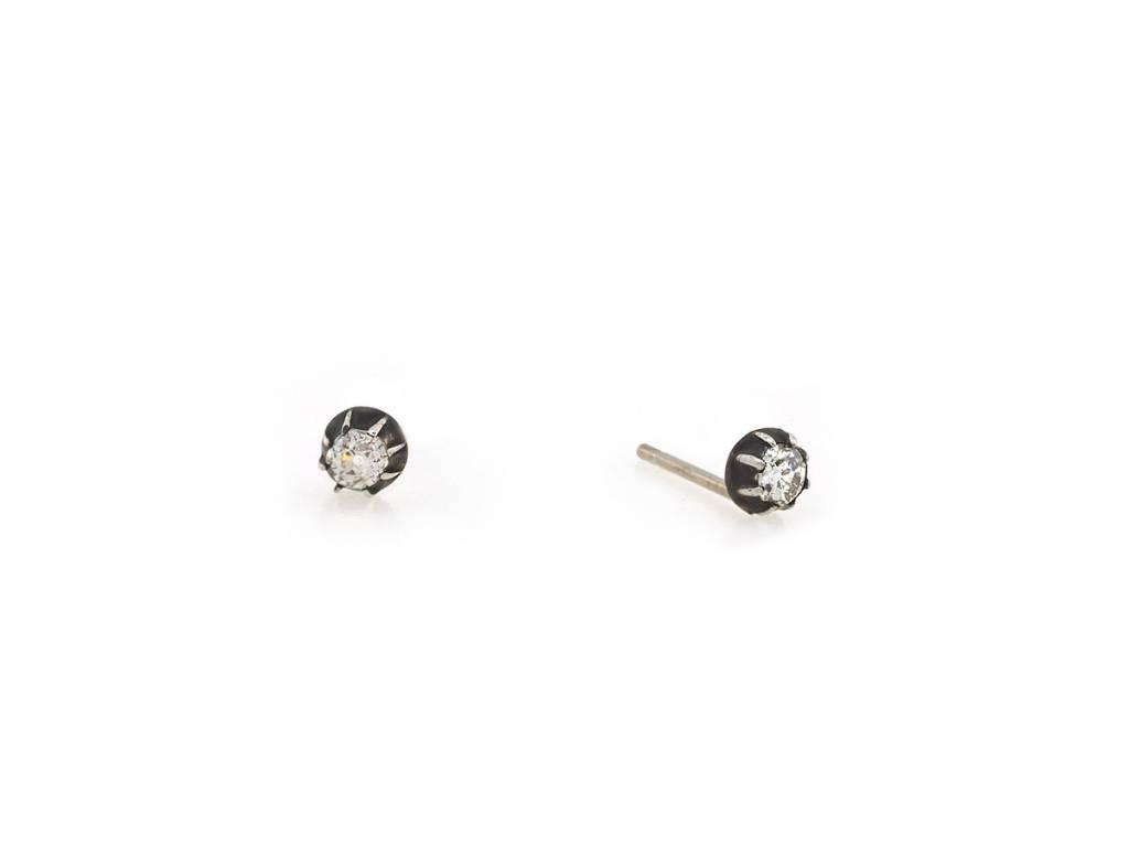 Trabert Goldsmiths Antique Georgian Diamond Stud Earrings
