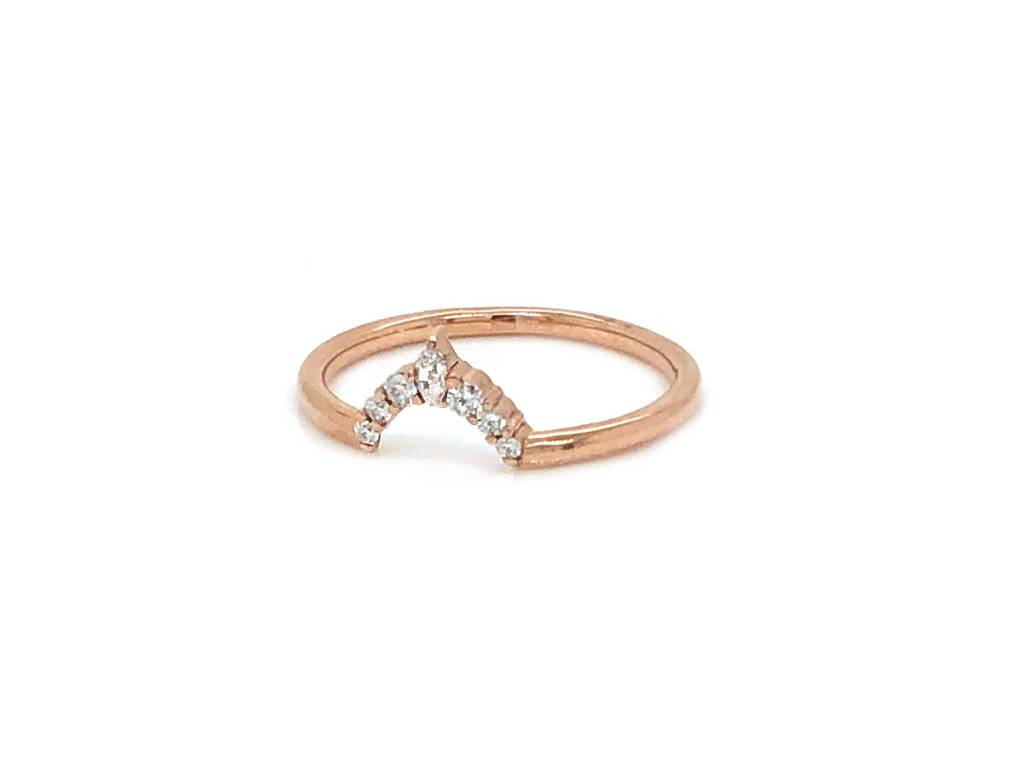 Point No Point Studio Etta Curved Diamond Rose Gold Band