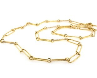 Trabert Goldsmiths Yellow Gold Long Oval Link Necklace E1853