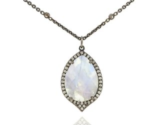 Lauren K Moonstone and Diamond pendant LK34